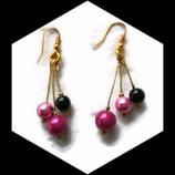 Boucles oreille  grappes 3  fil aluminium doré perles magique rose