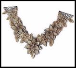 Applique faux col à coudre  fleurs brodées camaïeu marron beige plastron A046 customisation couture