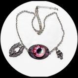 collier gothique oeil pendentif émail double face - bijou artisanal
