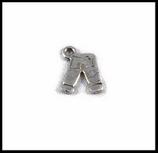 Breloque en métal jean 15 x 11 mm  métal argenté