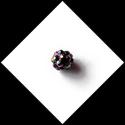 Perle strass ronde 10mm couleur noir reflets multicolores