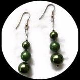 Pendant oreille fil aluminium argent, perle magique verte