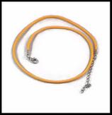 Cordon ciré orange 2 mm collier avec chaînette d'extension