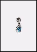 Pendentif bélière ou charm métal argenté cage avec verre cristal turquoise.