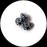 Perle style pandora ®  bleue 15 x 10 mm motif fleurs.
