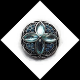 Bouton snap  rosace strass turquoise 20 mm pour bijoux personnalisables 236.