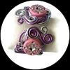Bracelet fil aluminium rose et argent, perles roses