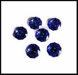 Bouton rond  bleu royal à facettes scrapbooking 18 mm X 6 couture, tricot.