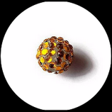 Perle strass ronde 16 mm  couleur doré.