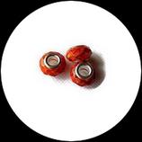 Perle style pandora ® à facettes aplatie orange marron 14 x 9 mm.