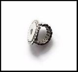 Support bague métal argenté strass boutons snaps Réf : 1205