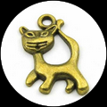 breloque chat 24x14 mm bronze
