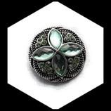 Bouton snap  rosace strass vert 20 mm pour bijoux personnalisables