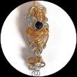 Pendentif fil aluminium doré et argent, perles fait main