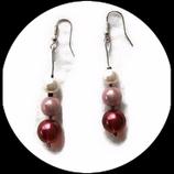 Pendant oreilles fil aluminium argent, perle magique rose