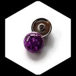 Bouton snap chunk dôme violet cabochon 18 mm pour bijoux personnalisables.