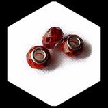 Perle style Pandora ® à facettes aplatie  marron orange 14 x 9 mm