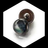 Bouton snap chunk ange gris bleu 18 mm cabochon verre pour bijoux personnalisables.