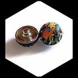Bouton snap chunk en métal argenté fimo et strass pour bijoux personnalisables