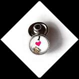 Bouton snap chunk singe I love coeur cabochon 12 mm pour bijoux personnalisables.