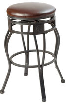 29'' Swivel Metal Barstool with Faux Leather Seat in Espresso