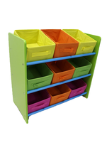 3 Tier Storage Unit with 9 Removable Fabric Bins…