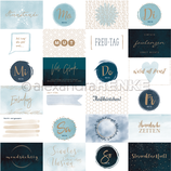 Designpapier *Kärtchenbogen Quer Blau*