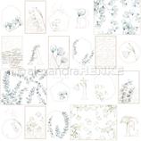 Designpapier *Kärtchenbogen blaue Blumengeometrie*