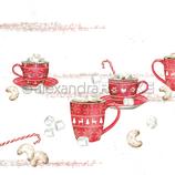 Designpapier *Große Tassen mit Marshmellows*