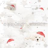 Designpapier *Weihnachtshund mit Mütze*
