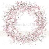 Designpapier *Kirschblüten-Kranz mit Vögeln*