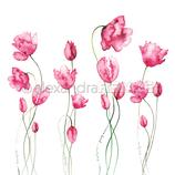 Designpapier *Viele Tulpen pink*