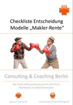 Checkliste Entscheidung für ein Modell der Makler-Rente gegen Verkauf des Maklerbestandes oder der Maklerfirma.