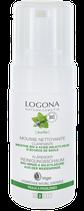 Mousse nettoyante Clarifiante Menthe bio & Acide salicylique (écorce de saule), peaux à problèmes LOGONA - 100ml