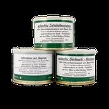 Probierpaket der Wurst - Spezialitäten vom Fleisch alter Hausschweinrassen - Leberwurst mit Majoran, gekochte Zwiebelmettwurst & gekochte Bärlauch-Mettwurst