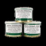 Probierpaket der Wurst - Spezialitäten vom Fleisch alter Hausschweinrassen - Westfälisches Schmalzfleisch, gekochte Zwiebelmettwurst & gekochte Bärlauch-Mettwurst