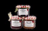 Fruchtaufstrich 3er-Set Pflaumen in Dornfelder Rotwein, Apfel-Zimt, Erdbeeren