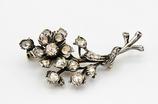 14 Karaat goud met zilveren takbroche bezet met 21 roosdiamanten, meer dan 1.0 ct.