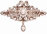 Antieke 18 karaat gouden broche bezet met ca.1.60 ct roosgeslepen diamant in zilver gezet, ca.1870.