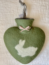 Herzwärmeflasche Hase moss green