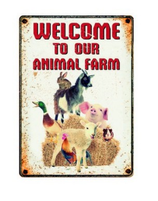 Waakbord welcome to our animal farm