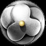 """Knopf """"Blüten"""" Silber"""