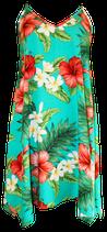 【131-0085】SALE アシンメトリー・ハワイアンドレス(アクア)