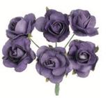 Röschen mit Draht 6 Blüten Violet