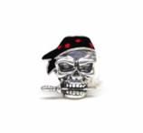 "Tibetsilber Bead ""Pirat Knife Zinn Skull Bead Black | Red"""