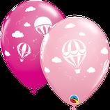 "6 Ballons Qualatex ""Montgolfière"" Pink & Wild Berry"