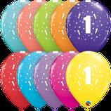6 Ballons Qualatex Chiffre Coloré (Age de 1 à 10)