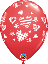 6 Ballons Qualatex Patterned Hearts & Arrows
