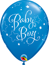 "6 Ballons Qualatex ""Baby Boy Stars"" Dark Blue"