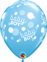 "6 Ballons Qualatex ""Baby Boy Dots-A-Round"" Pale Blue"